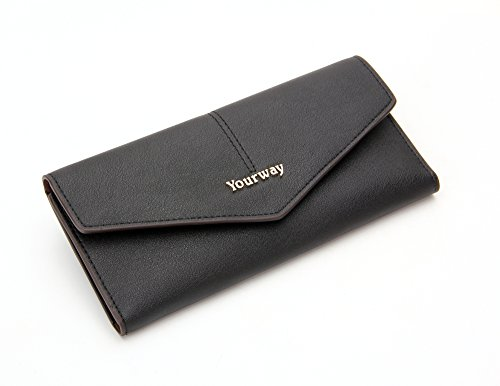 Yourway Sweden Slim Wallets for Women Large Capacity Purses PU Leather Ladies Wallet with Gift Box, RFID Blocking, 10 Card Slots perfect for Gift