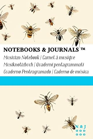 Musician Notebooks & Journals, Bees (Nature Collection) Pocket, Soft Cover: (4 x 6)(Blank Sheet Music, Music Manuscript Paper, Staff Paper)