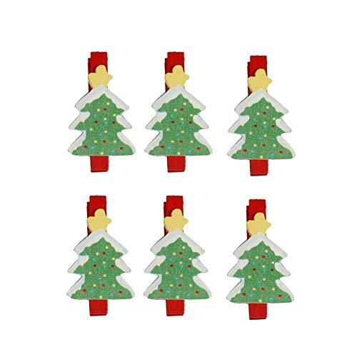 Steellwingsf 6 Stück Schöne Weihnachtsmann Schneemann Hirsch Clips für Weihnachtsbaum Holz Fotos Memo Clips, Holz, Multi, Christmas Tree -