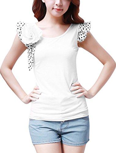 Allegra K Femmes ébouriffé Pois Manche Slim Fit T Shirt Hauts ÉTé w Broche Blanc