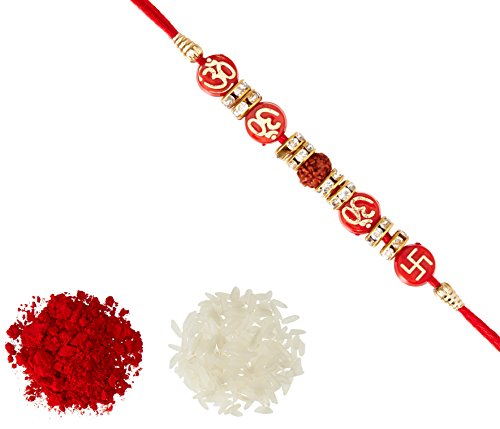 Aheli Religious Swastik & OM on Red Beads AD Ring Rakhi with...