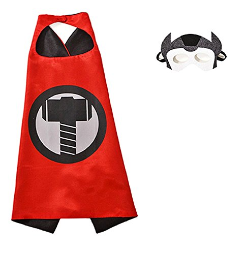 (3-6 Jahre - Kostüm Set - Verkleidung - Karneval - Halloween - Thor - Superheld - Rot - Maske - Umhang - Kind - Superman)