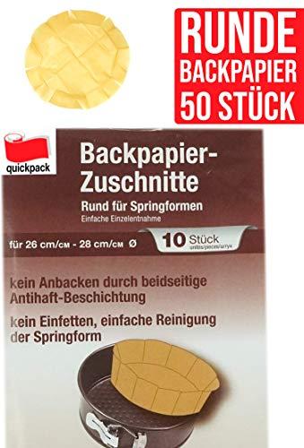 50 Backpapier Zuschnitte rund Springform 26-28 cm Ø hitzebeständig Sparpack