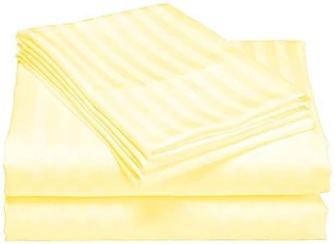 scalabedding, Taschenformat Tiefe 100% ägyptische Baumwolle 500TC 58,4cm Blatt–Königin Butter, Gestreift