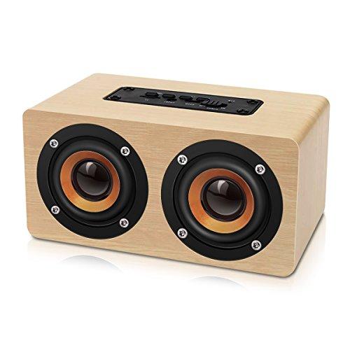 EIVOTOR Altavoces Inalámbricos Portátiles (Hi-Fi, Bass, 2X5W, Material Madera), 2000 mAh Batería...