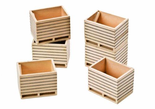 Kids Globe - Paquete de 6 cajas de madera a escala 1:32Compatible con vehículos SIKU.Complemento ideal para granjas y vehículos de la serie de granja Kids Globe
