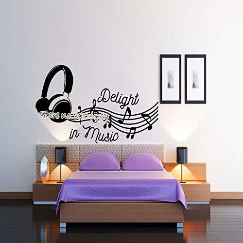 zqyjhkou Freude An Musik Kopfhörer Wandaufkleber Violinschlüssel Musiknoten Wandbild Für Wohnzimmer Schlafzimmer Tonstudio Decor Ea421 56x36 cm