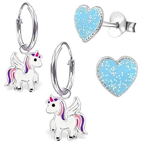 Mädchen 2 Paar Kleine Pegasus Creolen + Glitzer Herz Ohrstecker 925 Silber Mädchen Ohrringe Pferde Einhorn (AM103 Herz Glitzer-Blau)