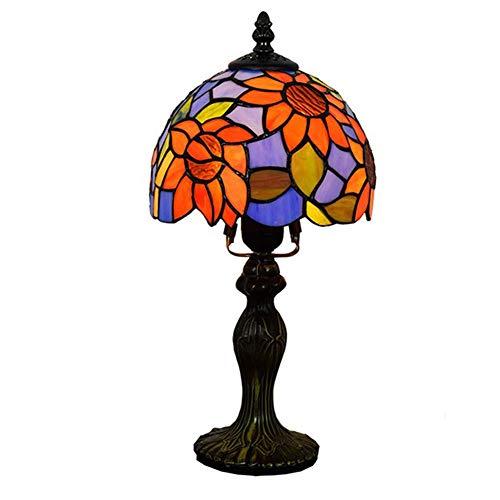 CAQQ 8 Zoll Tiffany Stil tischlampe Europäischen farbigen Glas Sonne Blume Garten Wohnzimmer kinderzimmer schlafsaal Schlafzimmer nachttischlampen