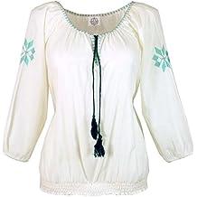 Guru-Shop Leichte Sommerbluse, Bestickte Bluse, Damen, Weiß, Baumwolle, Size a50f8417df