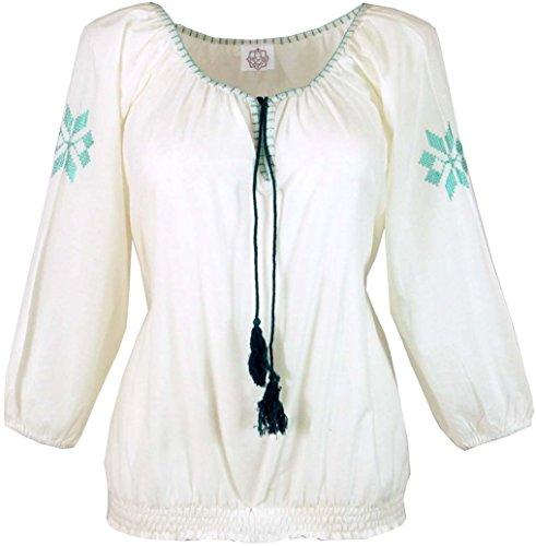 Guru-Shop Leichte Sommerbluse, Bestickte Bluse, Damen, Weiß/Grün, Baumwolle, Size:40, Blusen Alternative Bekleidung (Bestickte Tunika Shirt)
