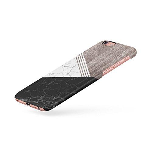 White & Black Cracked Marble & Oak Wood Blocks Dünne Rückschale aus Hartplastik für iPhone 6 Plus & iPhone 6s Plus Handy Hülle Schutzhülle Slim Fit Case cover Oak&Marble