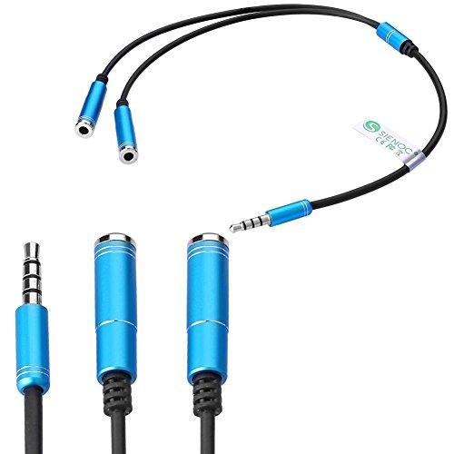 SIENOC Headset-Adapter-Kit, U-Form-3,5-mm-Y-Splitter Audio-Kopfhrer Kompatibel mit iPhone iPad Samsung LG Smartphone Laptop PS4 Kopfhrer (blau)