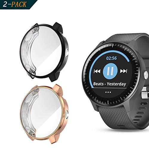 Cerike Hülle für Garmin Vivoactive 3 Music schutzfolie, (2 Stück) Schutzhülle TPU HD Ultra-Thin zubehör Case für Garmin Vivoactive 3 Music GPS Smartwatch (Schwarz+Roségold)