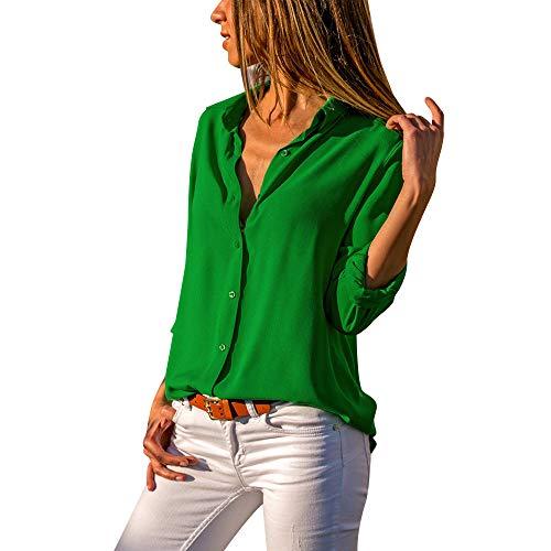 Anmain primavera chiffon camicie blusa donna, pulsante camicie camiceria elegante manica lunga camicetta moda blouse bluse casuale camicette blusa tinta unita maglietta vintage camicetta tops bluse