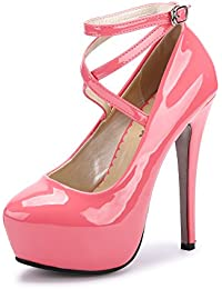 OCHENTA Women s Ankle Strap Platform Pump Party Dress High Heel 1922ef7505