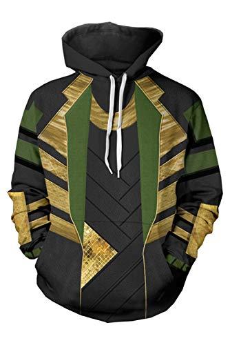 Loki Damen Kostüm - MingoTor Herren Damen Kapuzenjacke Pullover mit Kapuze Sweatjacke Hoodie Cosplay Kostüm Schwarz XXL