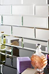 MY-Furniture Silver mirrored mirror bevelled wall tiles - brick sized - ideal Bathroom Kitchen