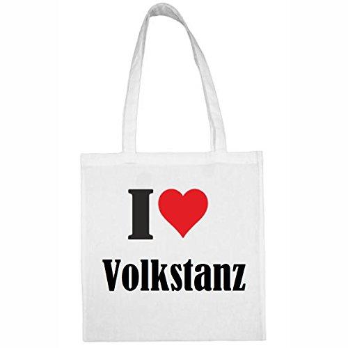 Tasche I Love Volkstanz Größe 38x42 Farbe Weiss Druck Schwarz