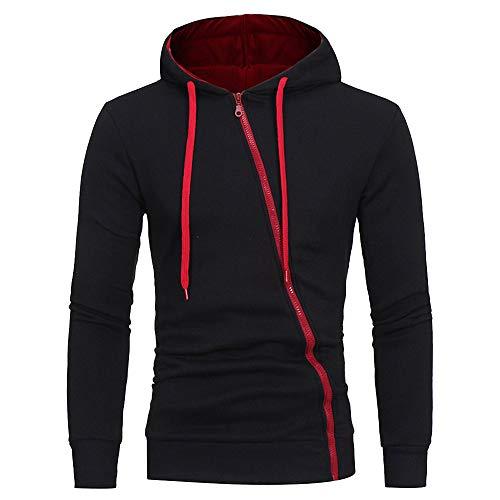 Sweat à Capuche Homme, Printemps Automne Hiver Sweat-Shirt Manteau Veste Fermeture ZippéE Oblique Hoodies Slim Tops De Sport (Noir A, L)