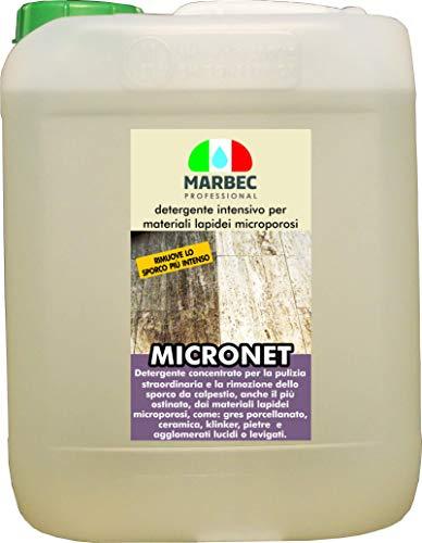 Marbec - MICRONET 5LT   Detergente intensivo per la rimozione dello Sporco ostinato su gres porcellanato e Materiali lapidei microporosi
