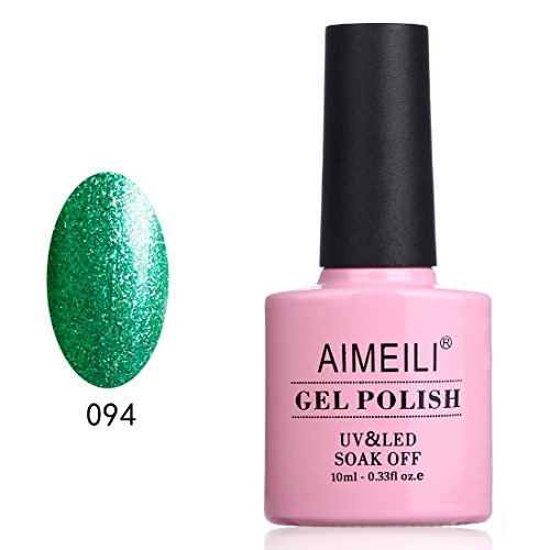 AIMEILI UV LED Gellack ablösbarer Gel Nagellack Grün Glitzer Gel Polish - Chilly Shine Green (094) 10ml -