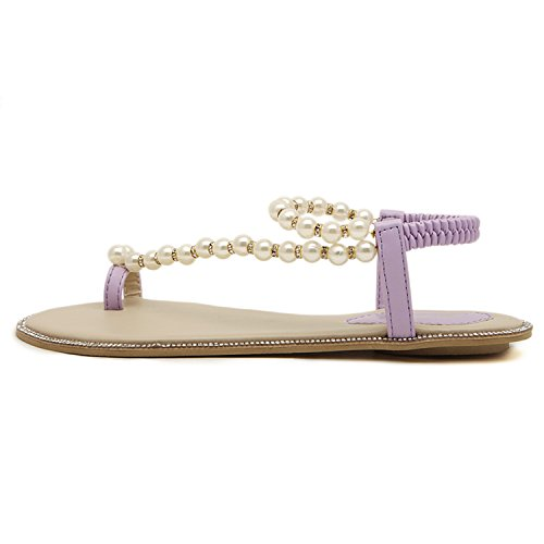 dqq femmes de perles cheville sangle String Sandal Violet