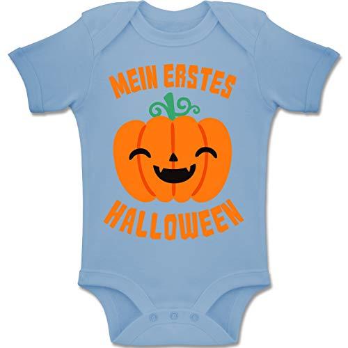 Shirtracer Anlässe Baby - Mein erstes Halloween Kürbis - 6-12 Monate - Babyblau - BZ10 - Baby Body Kurzarm Jungen Mädchen