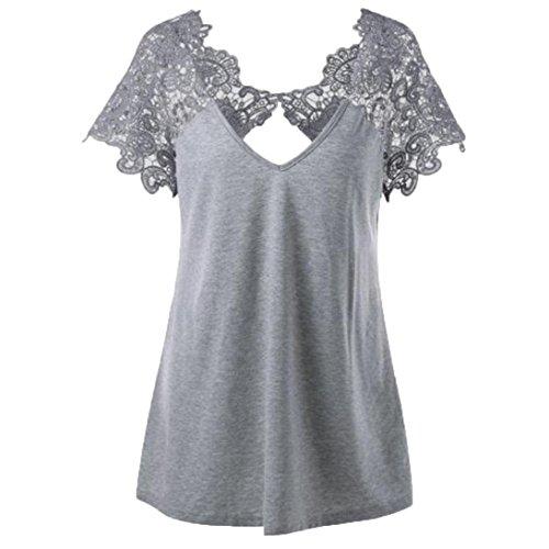 ESAILQ Damen Mode Übergröße Spitze Kurzarm V-Ausschnitt T-Shirt Bluse (Grau, 5XL) (Gute Halloween Kostüme Für Eine Gruppe)
