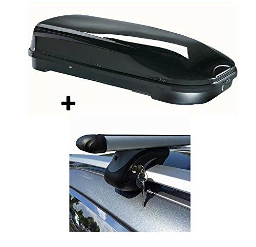 Coffre de toit Noir VDP de fl580Grand Coffre de toit verrouillable + barres de toit en aluminium pour VW Touareg 7P5à partir de 1075kg