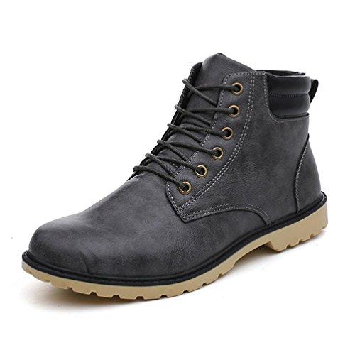 XINANTIME - Botas de invierno de invierno de tobillo de hombre Casual Martin Shoes (41, Gris)