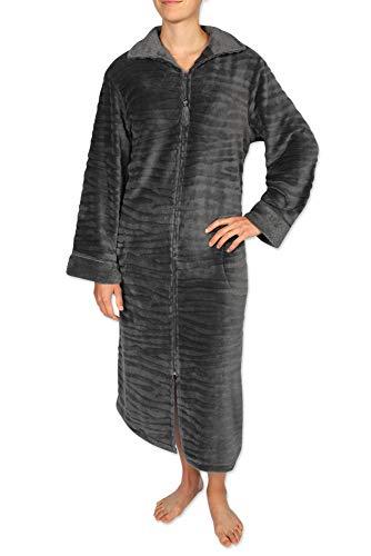 Miss Elaine Damen Bademantel aus gebürstetem Fleece mit Langen Ärmeln und Reißverschluss vorne - Grau - Small - Fleece-bademäntel Reißverschluss Damen Vorne