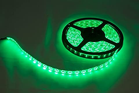 CMC LED Light Lamp® LED Strip Lights SMD 3528 16.4 Ft (5M) 300leds 60leds/m Green Flexible Rope Lighting Tape Lights in DC Jack for Boats, Bathroom, Mirror, Ceiling