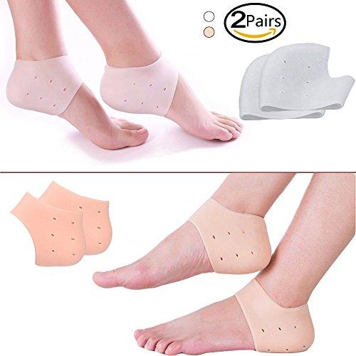 Breathable Gel Fersen Socken, 2 Paar Fersenschutz Silikon Socken Gel Heel Sleeve Relief Heel Pain, Plantar Fasciitis und Achillessehnenentzündung für Männer und Frauen