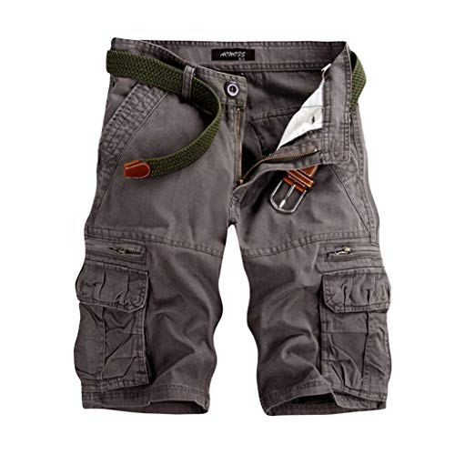 Aiserkly Männer Casual Pure Color Outdoor Pocket Strand Arbeitshose Cargo Shorts Hose Grau 38 -