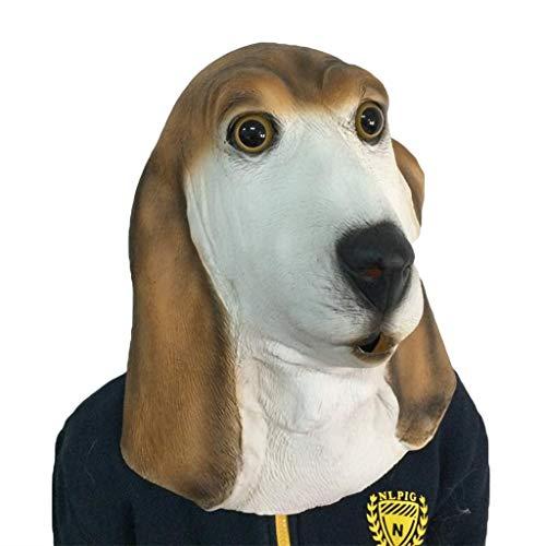 QWEASZER Halloween Foxhound Maske Adult Funny Dog Kopf Maske Gott nervt Hund Horror Latex EnglishFoxhound Animal Headgear Requisiten,EnglishFoxhound-OneSize (Hunde Halloween Für Hulk Kostüm)