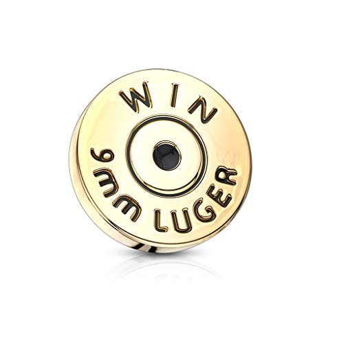 Winchester 9 mm Luger Bullet Back Gehäuse Innengewinde Dermal Anchor Top aus 316L Chirurgenstahl
