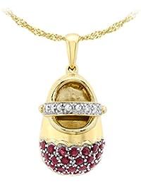 Carissima 9 Karat 375er Gelbgold 0.06 Karat Diamant u. Rubin Babyschuhanänger an Kette 46cm - 1.43.6814