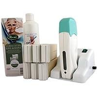 EPILWAX S.A.S - Kit Depilación Modular Completo De La Cera Desechables de Blanca, con Roll-on Grande Modela para las piernas, axilas, y el cuerpo, I Calentador.