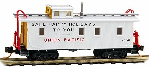 micro-trains-n-scale-34-wood-sheathed-caboose-with-slanted-cupola-union-pacific-happy-holidays-to-yo