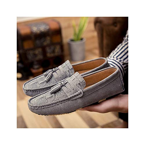 Summer Causal Shoes Men Loafers Genuine Leather Moccasins Men Designer Crocodile Suede Mens Driving Shoes Gray 6 -