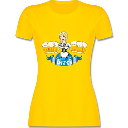 Oktoberfest Damen - Wiesn Madl Bierkrüge - tailliertes Premium T-Shirt mit Rundhalsausschnitt für Damen Gelb