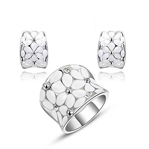 Hypoallergen Mode Ring Set Ohrringe Schmuck Platin Weiß Zwei Sätze von Schmuck , Platin Platin-hochzeit-sets Für Frauen