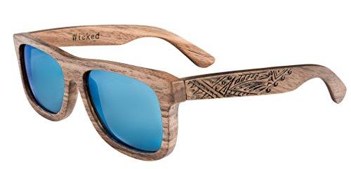 Schwimmende Holz Sonnenbrille aus Echtholz - blau polarisierten Gläser - Wicked Ceres wird aus...