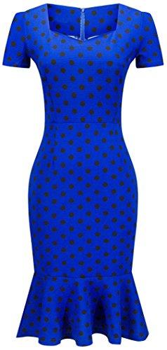 La Vogue Robe Femme Moulant Fourreau Volant Manche Courte Vintage Soirée Bleu