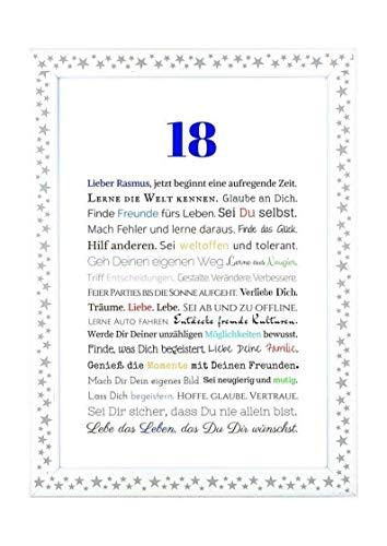 chenkidee zur Volljährigkeit - Personalisiertes Bild mit Rahmen - Geburtstagsgeschenk für einen Jungen/Mann oder Beigabe zum Geldgeschenk, Kunstdruck, DIN A4 ()