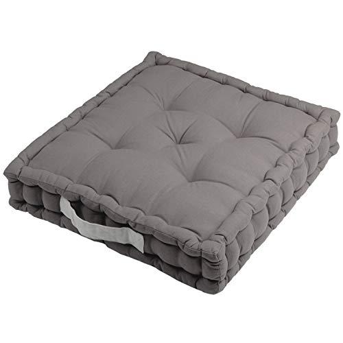 Alphadeco Sitzkissen Uni aus 100% Baumwolle (170g/m2) - 45x45x10cm - Bodenkissen, Stuhlkissen, Sitzerhöhung (Grau)