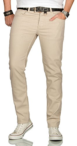 Designer Herren Jeans Hose Regular Slim Fit Jeanshose Basic Stretch [AS-091 - W36 L34] , Beige -