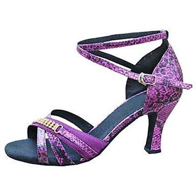 Silence @ Chaussures de danse pour femme en satin/similicuir latine/Jazz/Chaussures de swing/Salsa Sandales/Heelscustomized Violet