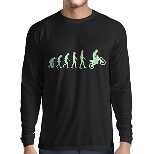 lepni.me Maglietta a Manica Lunga da Uomo Evoluzione Motocross, Moto Sporca, Maglia da Moto, Abbigliamento da Corsa, Moto da Fuoristrada (XXX-Large Nero Fluorescente)